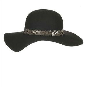 Boho wool floppy hat with feather trim